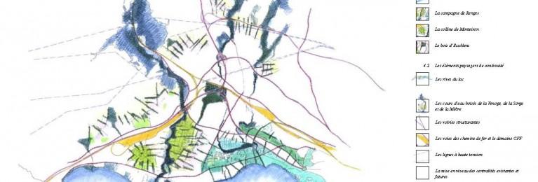 Carte paysage de l'Ouest lausannois_2001_SDOL-Feddersen&Klostermann-ADR-Itinera