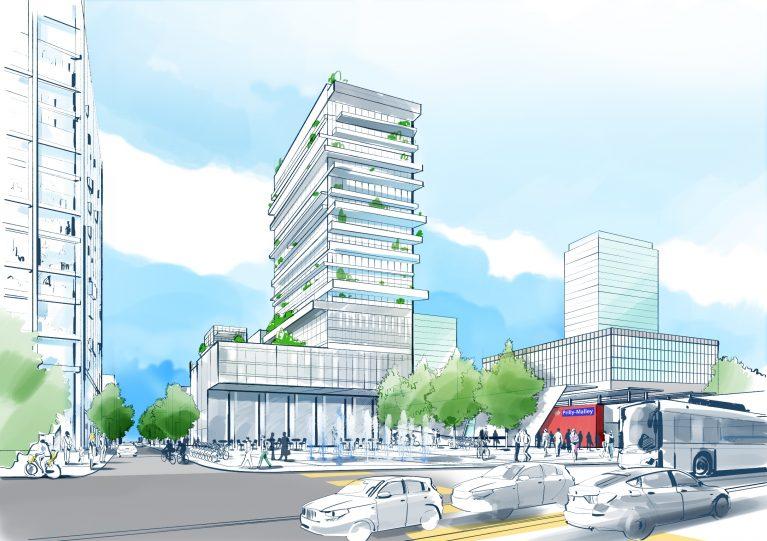 Future Place de Malley à la sortie de la halte RER. La forme et l'aspect des bâtiments seront définis par des concours d'architecture