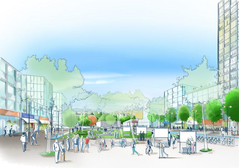 La forme, l'aspect des bâtiments et de la place seront définis par des concours d'architecture.