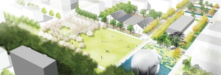 Malley-centre: image de synthèse du parc du gazomètre